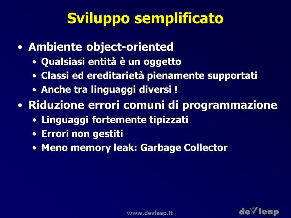 www.devleap.it Sviluppo semplificato Ambiente object-orientedAmbiente object-oriented Qualsiasi entità è un oggettoQualsiasi entità è un oggetto Class