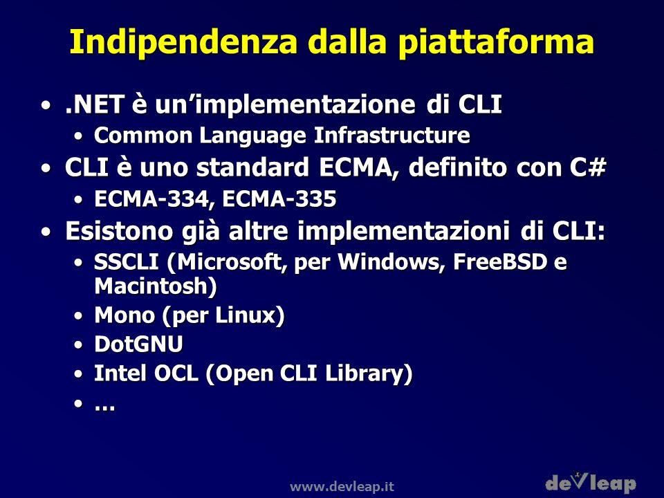 www.devleap.it Indipendenza dalla piattaforma.NET è unimplementazione di CLI.NET è unimplementazione di CLI Common Language InfrastructureCommon Langu