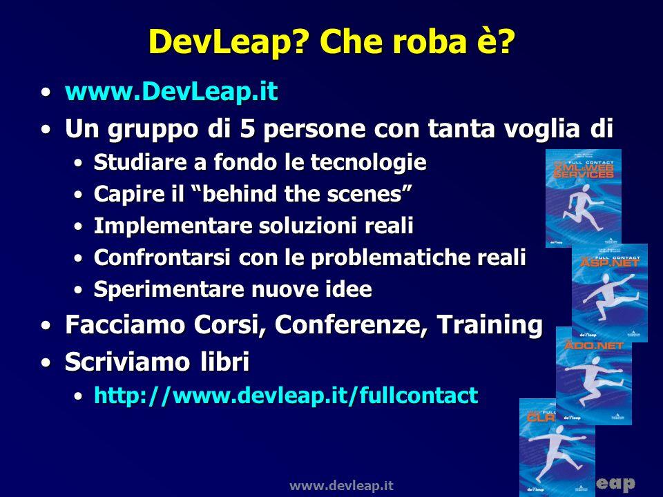 www.devleap.it Visual Studio.NET Base Class Library Common Language Specification Common Language Runtime Data and XML VBC++C# Visual Studio.NET JScript… Web Services User Interface