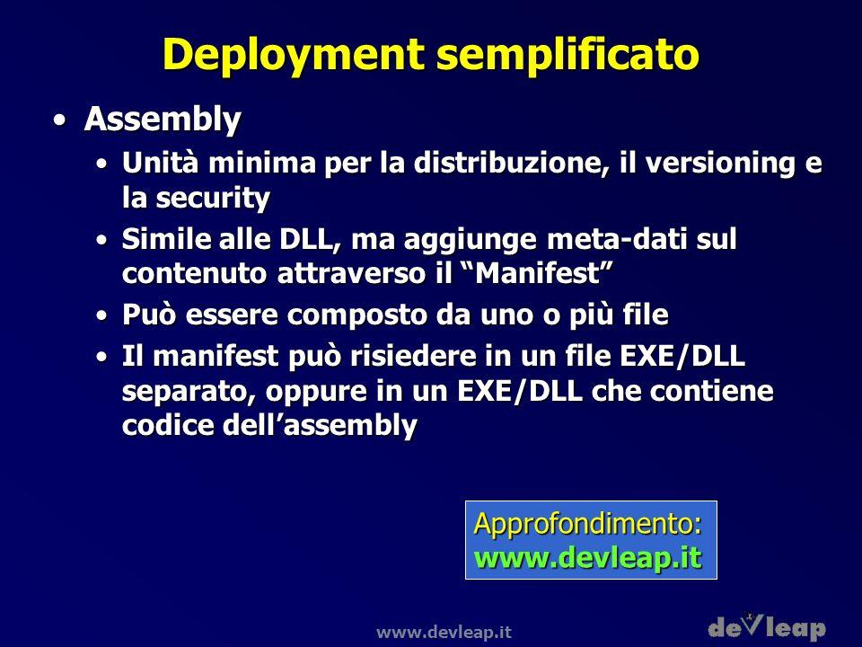 www.devleap.it Deployment semplificato AssemblyAssembly Unità minima per la distribuzione, il versioning e la securityUnità minima per la distribuzion
