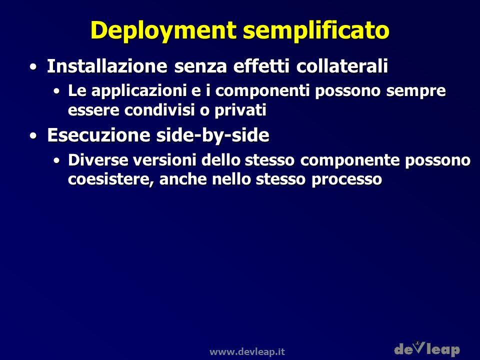www.devleap.it Deployment semplificato Installazione senza effetti collateraliInstallazione senza effetti collaterali Le applicazioni e i componenti p