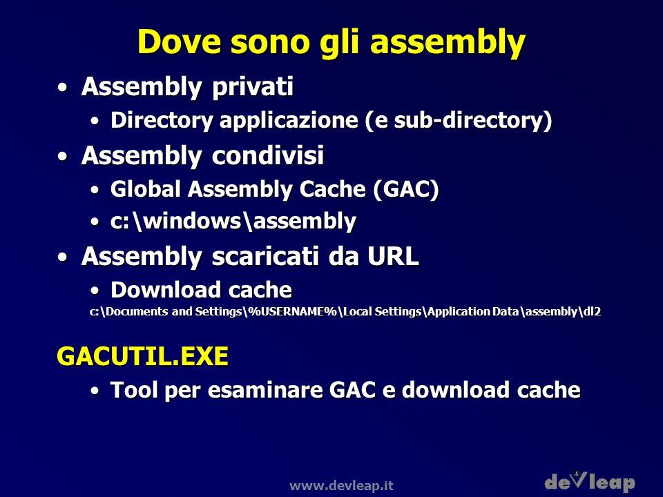 www.devleap.it Dove sono gli assembly Assembly privatiAssembly privati Directory applicazione (e sub-directory)Directory applicazione (e sub-directory