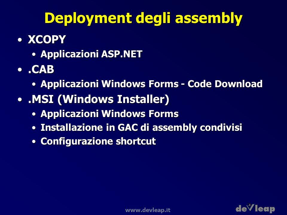 www.devleap.it Deployment degli assembly XCOPYXCOPY Applicazioni ASP.NETApplicazioni ASP.NET.CAB.CAB Applicazioni Windows Forms - Code DownloadApplica