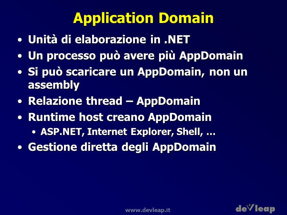 www.devleap.it Application Domain Unità di elaborazione in.NETUnità di elaborazione in.NET Un processo può avere più AppDomainUn processo può avere pi