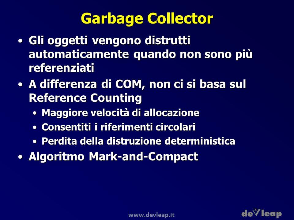 www.devleap.it Garbage Collector Gli oggetti vengono distrutti automaticamente quando non sono più referenziatiGli oggetti vengono distrutti automatic