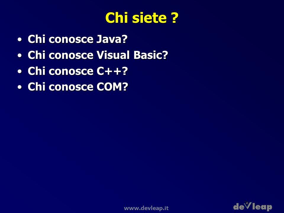 www.devleap.it Common Language Runtime Base Class Library Common Language Specification Common Language Runtime Data and XML VBC++C# Visual Studio.NET JScript… Web Services User Interface