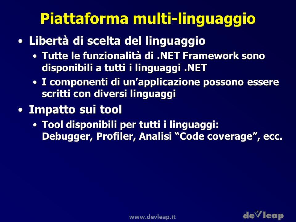 www.devleap.it Piattaforma multi-linguaggio Libertà di scelta del linguaggioLibertà di scelta del linguaggio Tutte le funzionalità di.NET Framework so