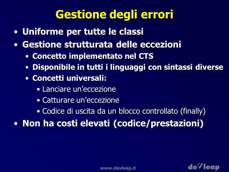 www.devleap.it Gestione degli errori Uniforme per tutte le classiUniforme per tutte le classi Gestione strutturata delle eccezioniGestione strutturata