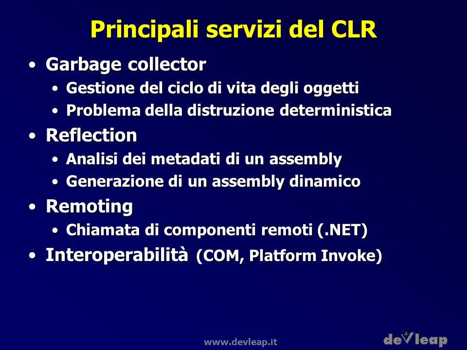 www.devleap.it Principali servizi del CLR Garbage collectorGarbage collector Gestione del ciclo di vita degli oggettiGestione del ciclo di vita degli