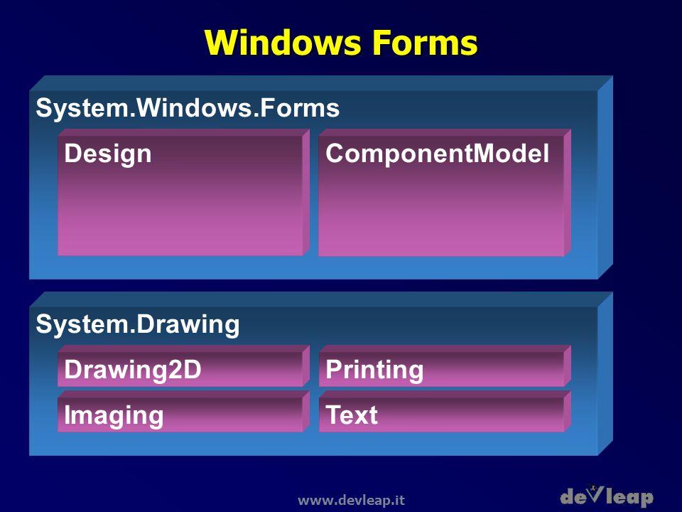 www.devleap.it Windows Forms System.Drawing Drawing2D Imaging Printing Text System.Windows.Forms DesignComponentModel