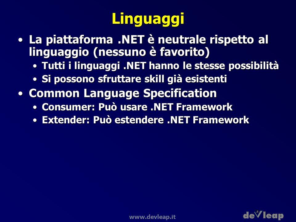 www.devleap.it Linguaggi La piattaforma.NET è neutrale rispetto al linguaggio (nessuno è favorito)La piattaforma.NET è neutrale rispetto al linguaggio