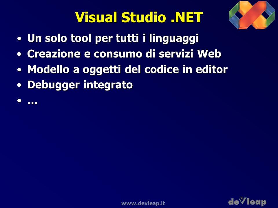 www.devleap.it Visual Studio.NET Un solo tool per tutti i linguaggiUn solo tool per tutti i linguaggi Creazione e consumo di servizi WebCreazione e co
