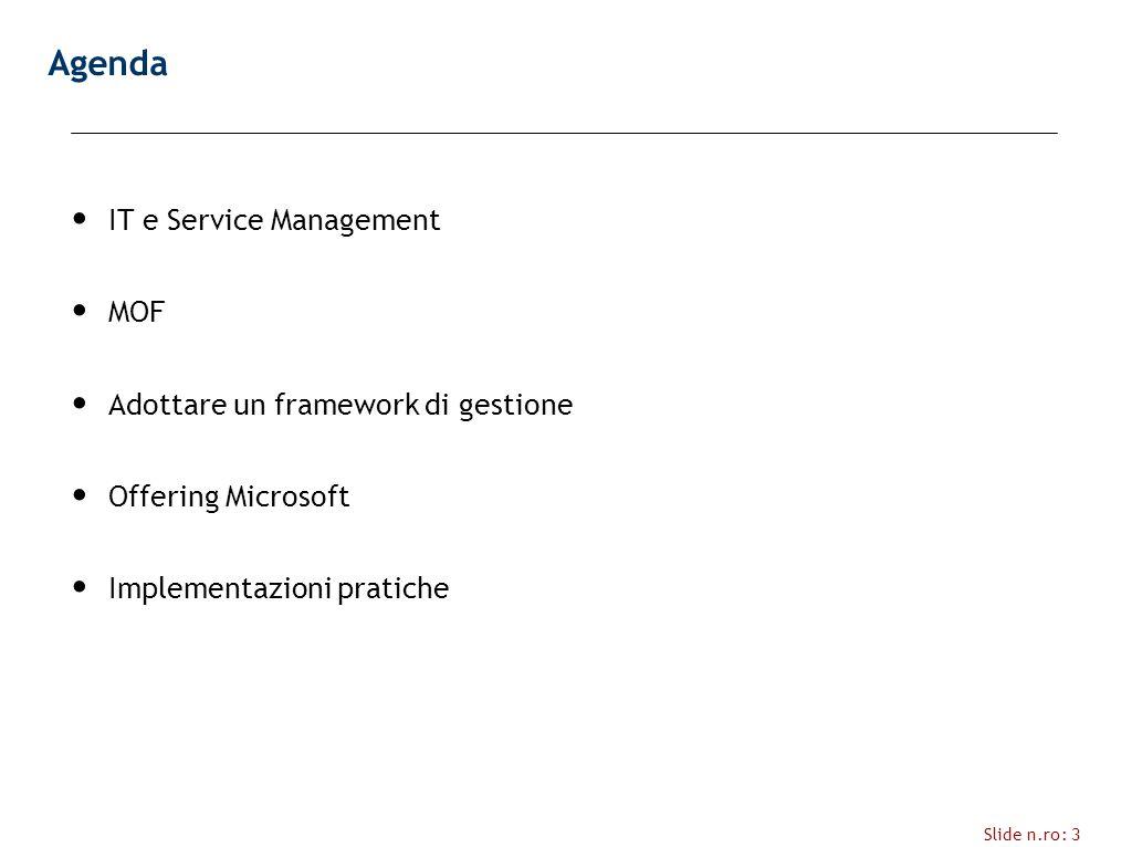 Slide n.ro: 3 Agenda IT e Service Management MOF Adottare un framework di gestione Offering Microsoft Implementazioni pratiche