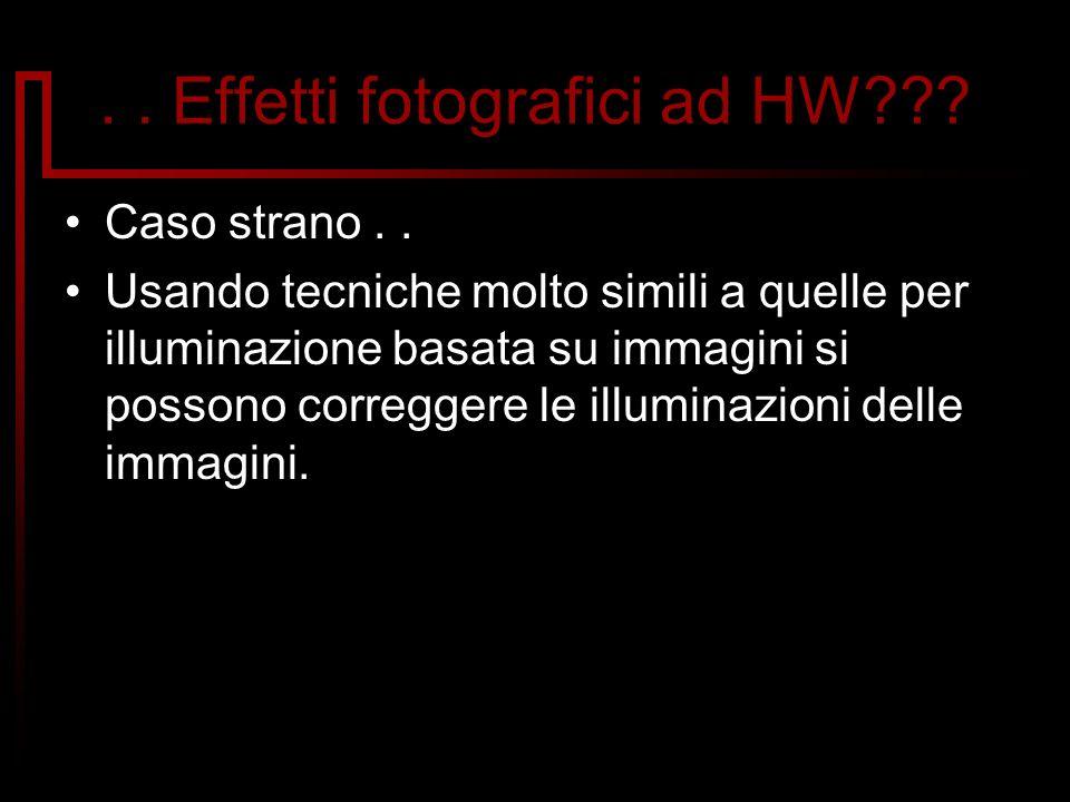 .. Effetti fotografici ad HW??? Caso strano.. Usando tecniche molto simili a quelle per illuminazione basata su immagini si possono correggere le illu