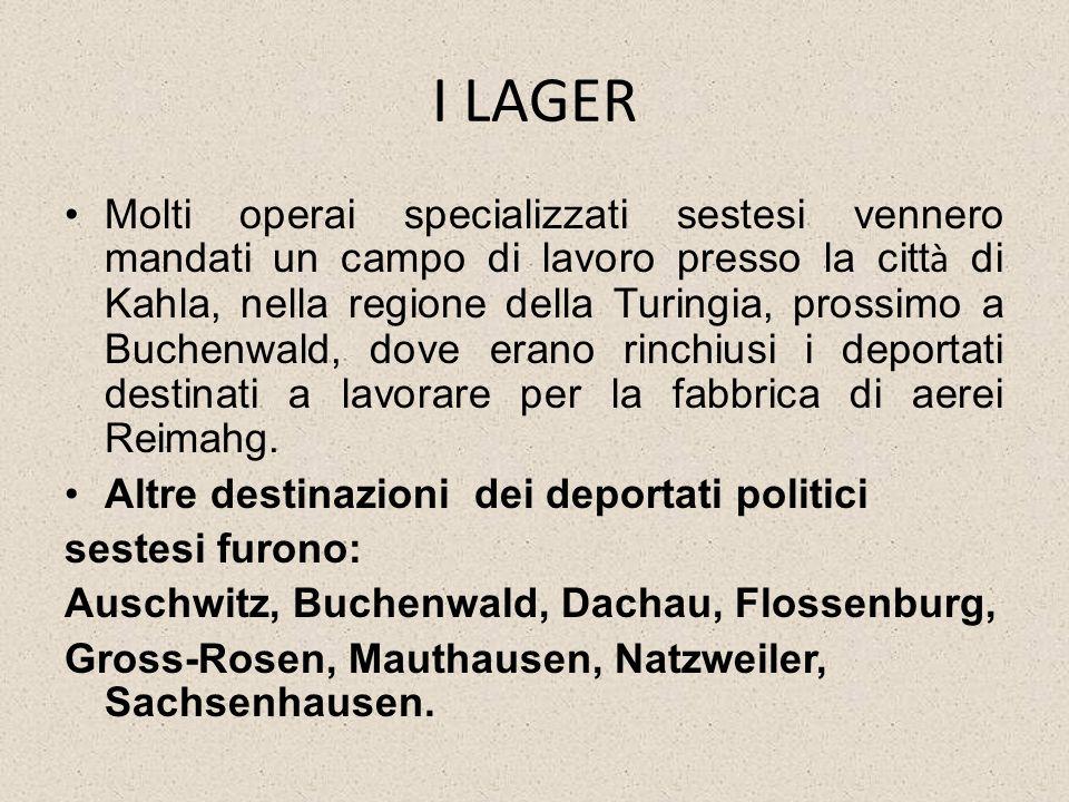I LAGER Molti operai specializzati sestesi vennero mandati un campo di lavoro presso la citt à di Kahla, nella regione della Turingia, prossimo a Buch