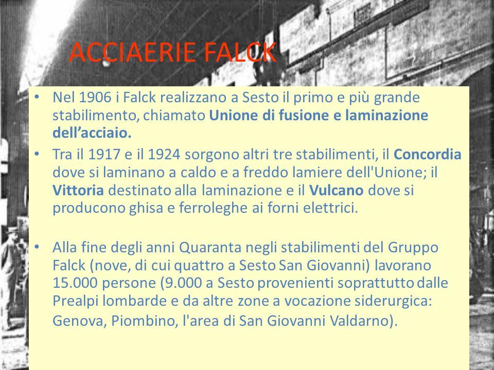 ACCIAERIE FALCK Nel 1906 i Falck realizzano a Sesto il primo e più grande stabilimento, chiamato Unione di fusione e laminazione dellacciaio. Tra il 1