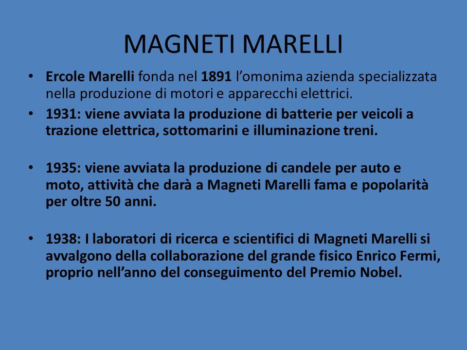 MAGNETI MARELLI Ercole Marelli fonda nel 1891 lomonima azienda specializzata nella produzione di motori e apparecchi elettrici. 1931: viene avviata la