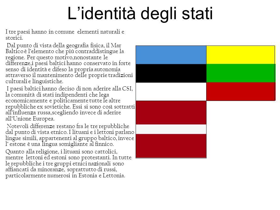Lidentità degli stati I tre paesi hanno in comune elementi naturali e storici. Dal punto di vista della geografia fisica, il Mar Baltico è lelemento c