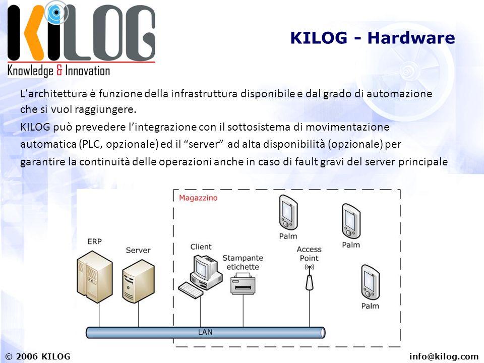 info@kilog.com© 2006 KILOG KILOG - Hardware Larchitettura è funzione della infrastruttura disponibile e dal grado di automazione che si vuol raggiungere.