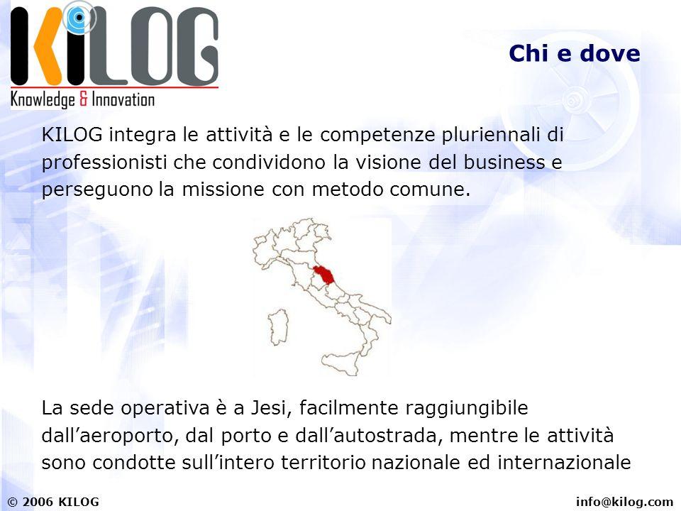 info@kilog.com© 2006 KILOG Chi e dove KILOG integra le attività e le competenze pluriennali di professionisti che condividono la visione del business e perseguono la missione con metodo comune.