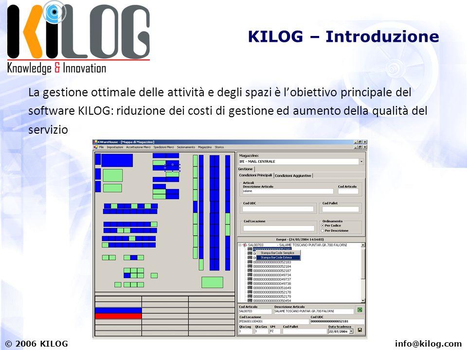 info@kilog.com© 2006 KILOG KILOG – Introduzione La gestione ottimale delle attività e degli spazi è lobiettivo principale del software KILOG: riduzione dei costi di gestione ed aumento della qualità del servizio