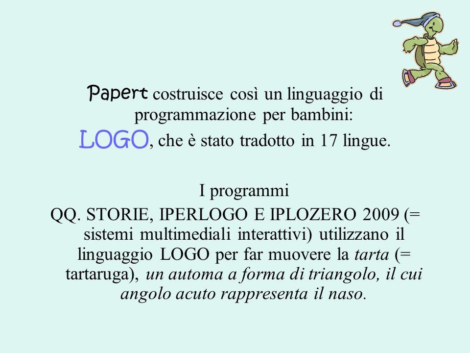 Papert costruisce così un linguaggio di programmazione per bambini: LOGO, che è stato tradotto in 17 lingue. I programmi QQ. STORIE, IPERLOGO E IPLOZE