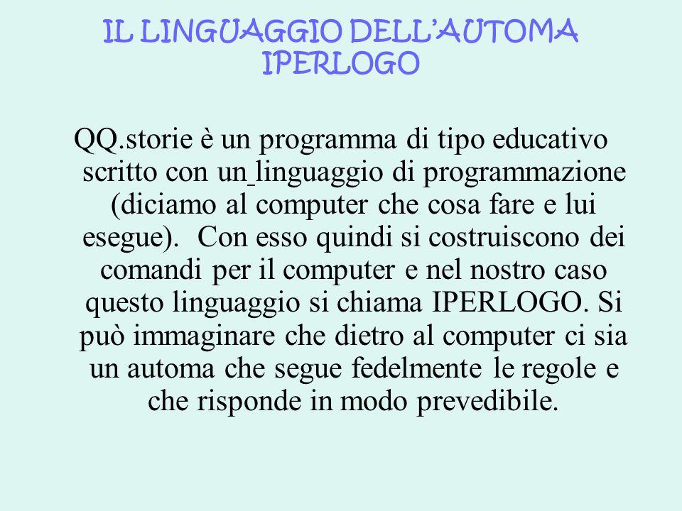 IL LINGUAGGIO DELLAUTOMA IPERLOGO QQ.storie è un programma di tipo educativo scritto con un linguaggio di programmazione (diciamo al computer che cosa