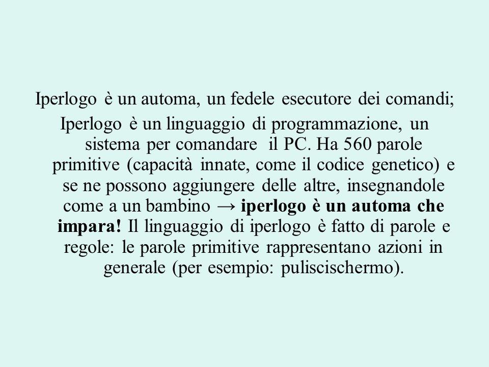 Iperlogo è un automa, un fedele esecutore dei comandi; Iperlogo è un linguaggio di programmazione, un sistema per comandare il PC. Ha 560 parole primi