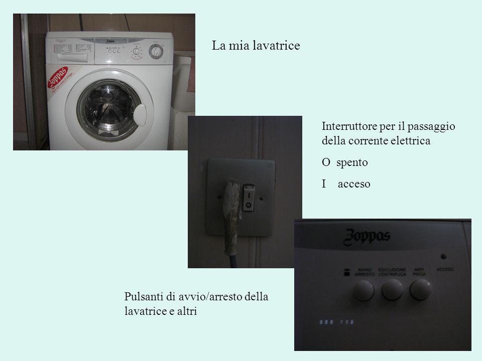 La mia lavatrice Interruttore per il passaggio della corrente elettrica O spento I acceso Pulsanti di avvio/arresto della lavatrice e altri