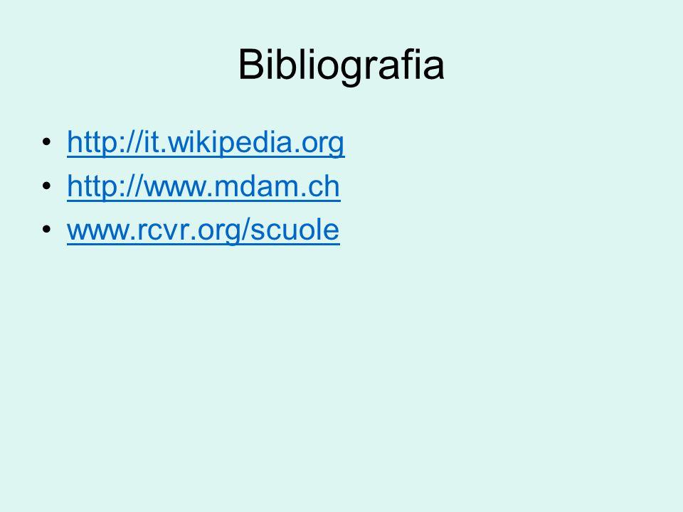 Bibliografia http://it.wikipedia.org http://www.mdam.ch www.rcvr.org/scuole