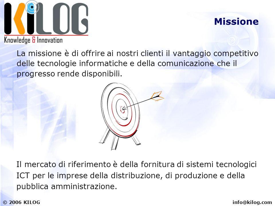info@kilog.com© 2006 KILOG Missione La missione è di offrire ai nostri clienti il vantaggio competitivo delle tecnologie informatiche e della comunica