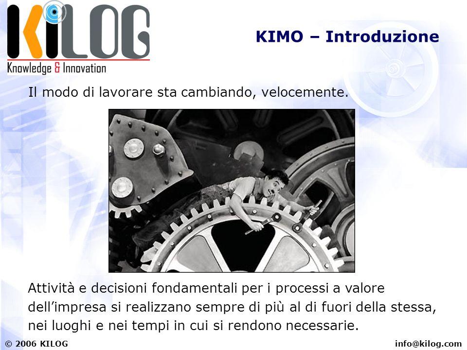info@kilog.com© 2006 KILOG KIMO – Introduzione Agenti, rappresentanti, tecnici, e sempre più manager ed imprenditori hanno bisogno di avere a disposizione informazioni e strumenti a supporto di decisioni importanti, sempre ed ovunque.