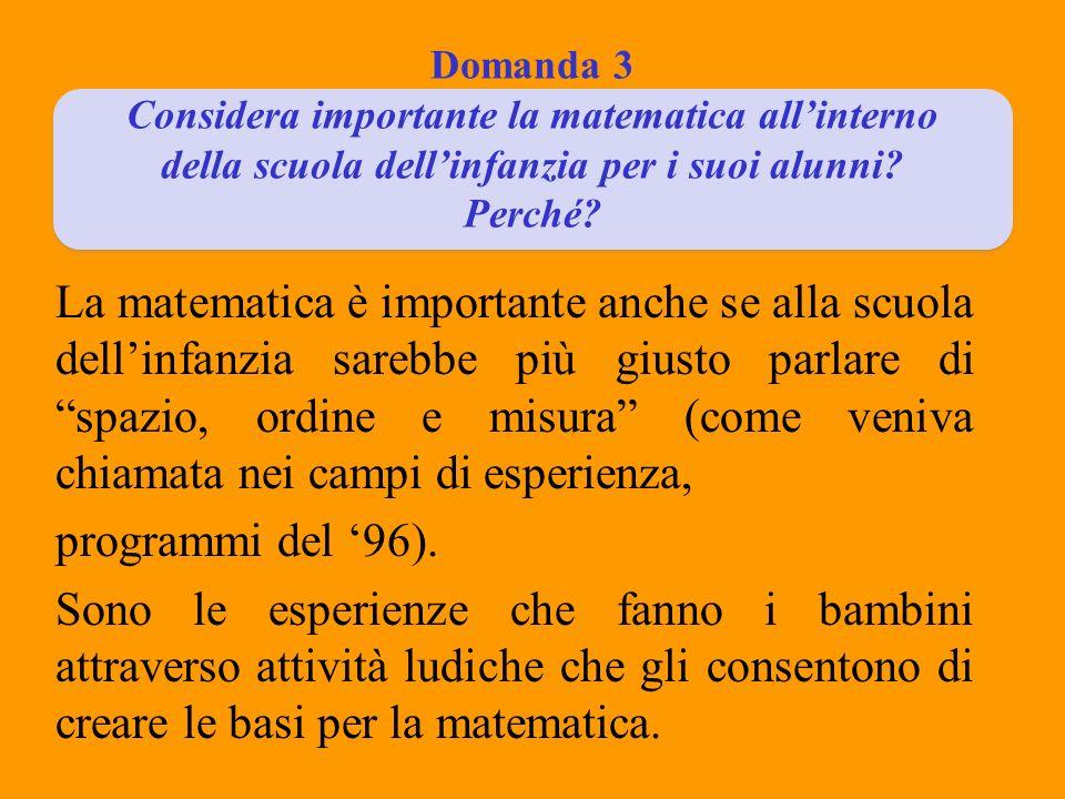 Domanda 3 Considera importante la matematica allinterno della scuola dellinfanzia per i suoi alunni? Perché? La matematica è importante anche se alla