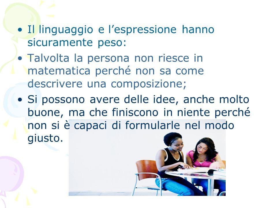 Il linguaggio e lespressione hanno sicuramente peso: Talvolta la persona non riesce in matematica perché non sa come descrivere una composizione; Si p
