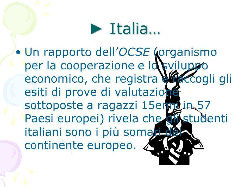 Italia… Italia… Un rapporto dellOCSE (organismo per la cooperazione e lo sviluppo economico, che registra e raccogli gli esiti di prove di valutazione