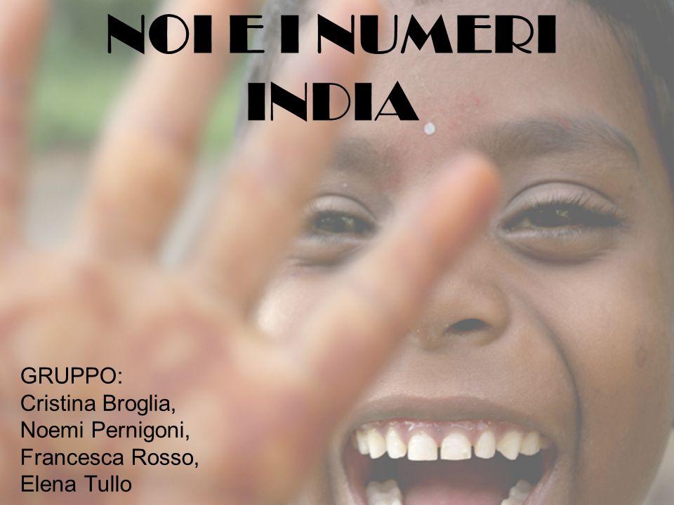 NOI E I NUMERI INDIA GRUPPO: Cristina Broglia, Noemi Pernigoni, Francesca Rosso, Elena Tullo