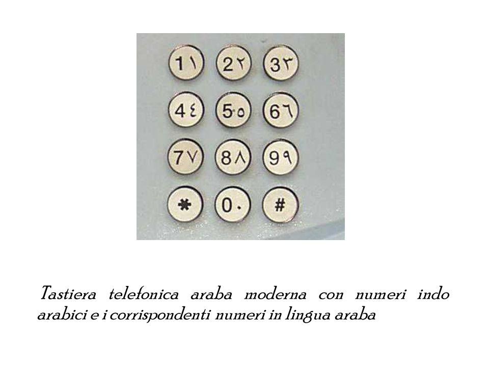Tastiera telefonica araba moderna con numeri indo arabici e i corrispondenti numeri in lingua araba
