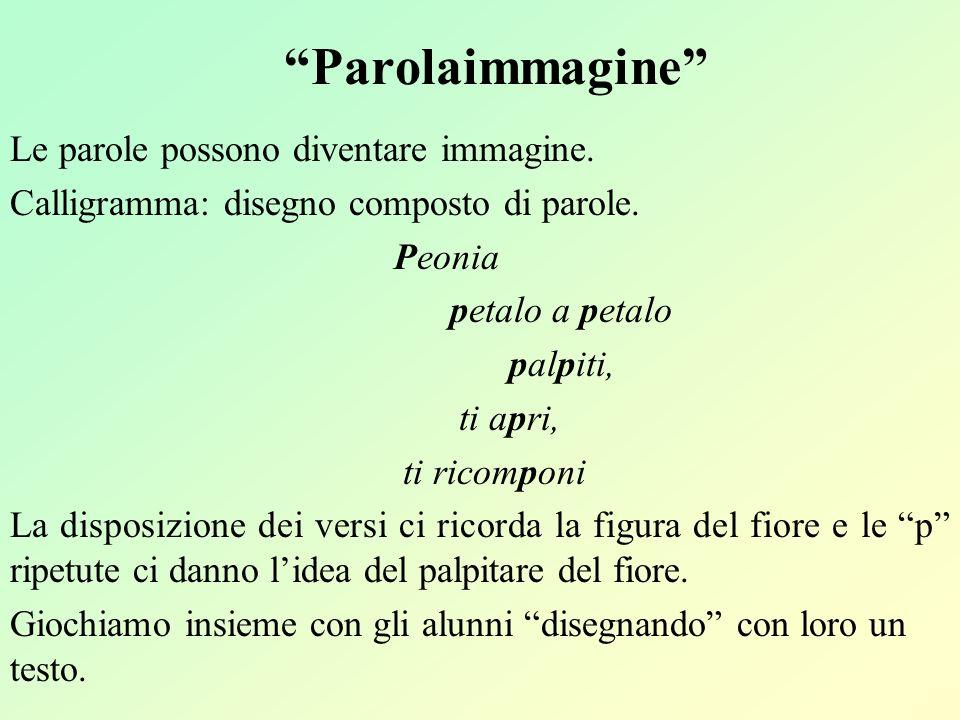 Parolaimmagine Le parole possono diventare immagine. Calligramma: disegno composto di parole. Peonia petalo a petalo palpiti, ti apri, ti ricomponi La