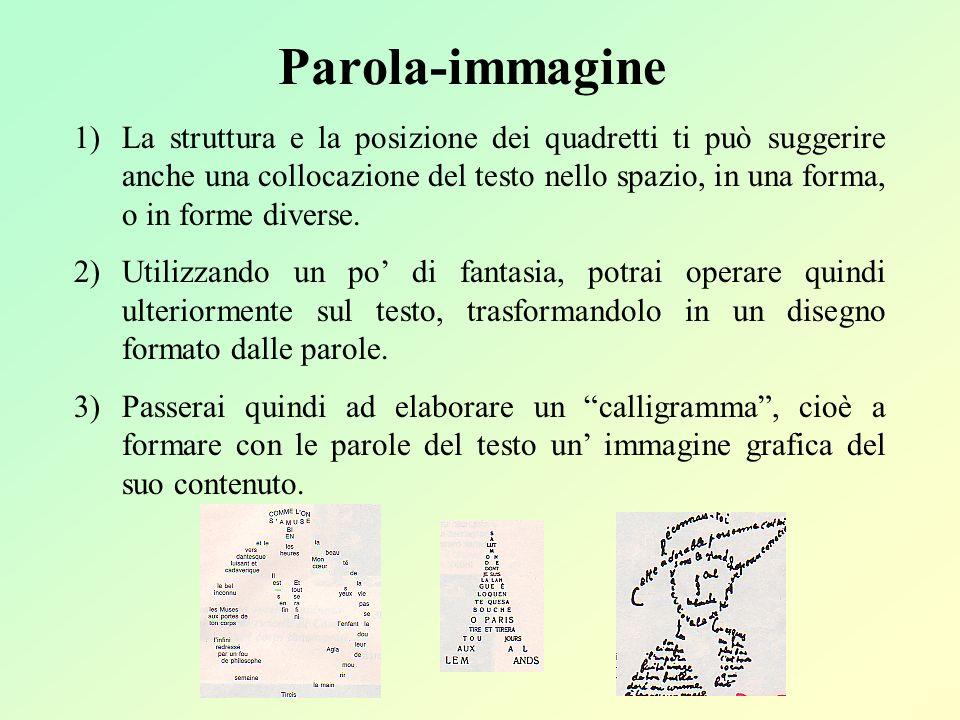 Parola-immagine 1)La struttura e la posizione dei quadretti ti può suggerire anche una collocazione del testo nello spazio, in una forma, o in forme d