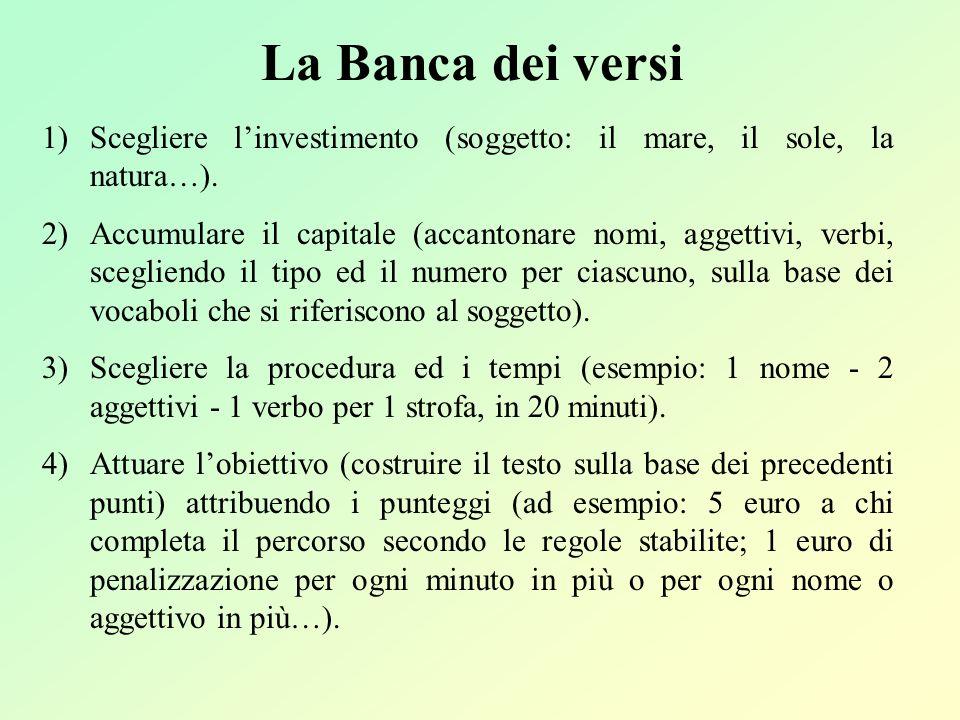 La Banca dei versi 1)Scegliere linvestimento (soggetto: il mare, il sole, la natura…). 2)Accumulare il capitale (accantonare nomi, aggettivi, verbi, s