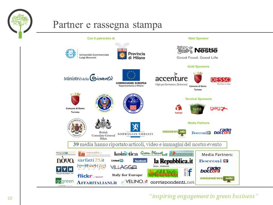 10 Partner e rassegna stampa inspiring engagement in green business 39 media hanno riportato articoli, video e immagini del nostro evento