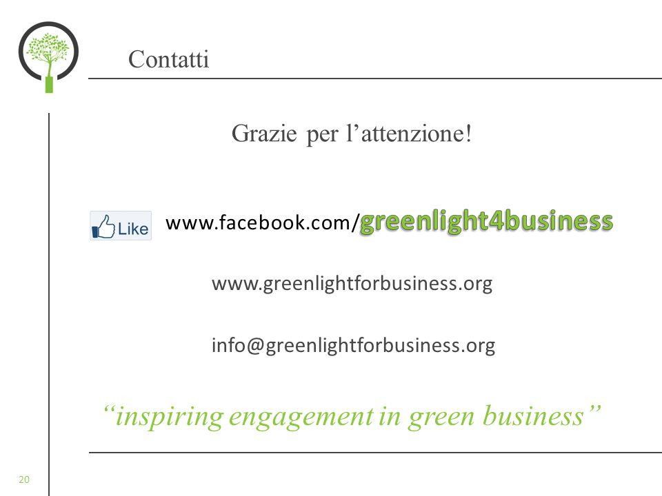 20 inspiring engagement in green business Contatti Grazie per lattenzione! www.greenlightforbusiness.org info@greenlightforbusiness.org