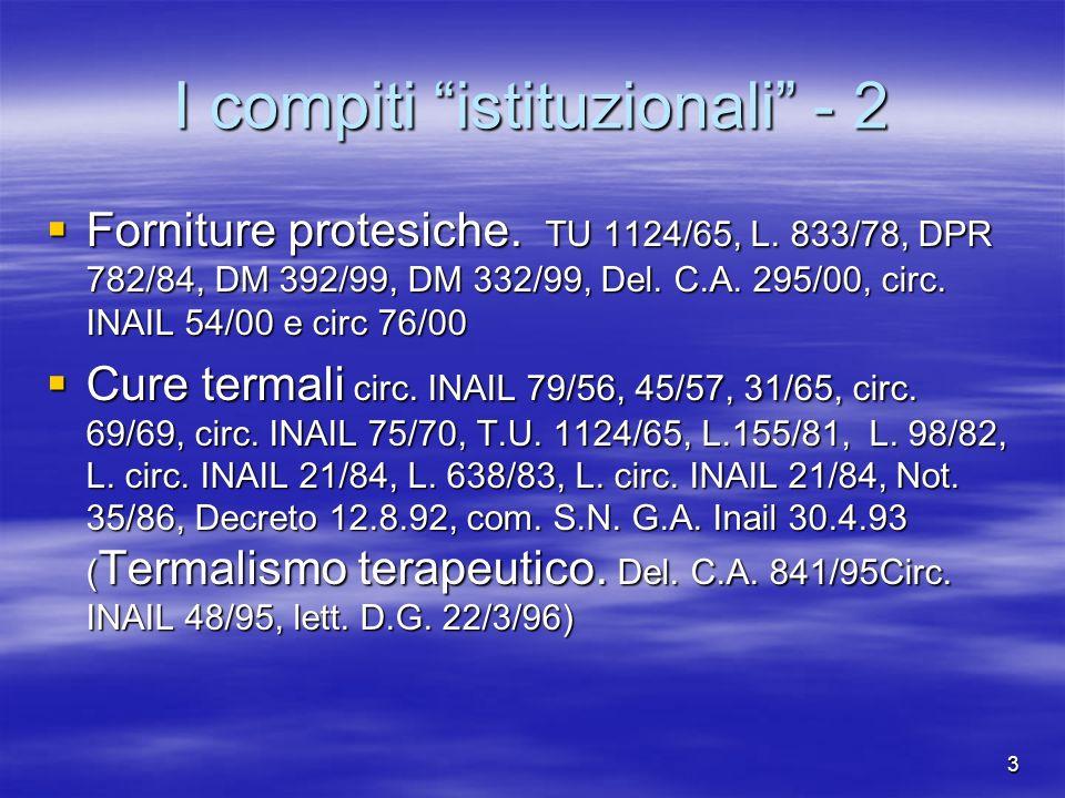 3 I compiti istituzionali - 2 Forniture protesiche.