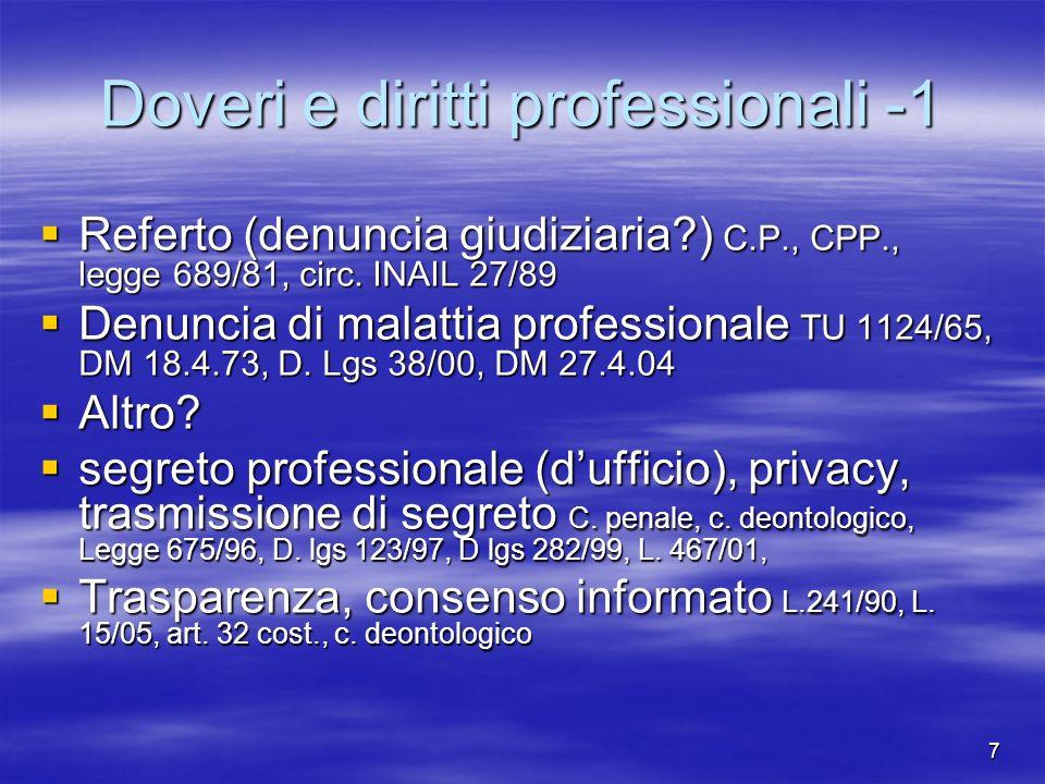7 Doveri e diritti professionali -1 Referto (denuncia giudiziaria?) C.P., CPP., legge 689/81, circ. INAIL 27/89 Referto (denuncia giudiziaria?) C.P.,