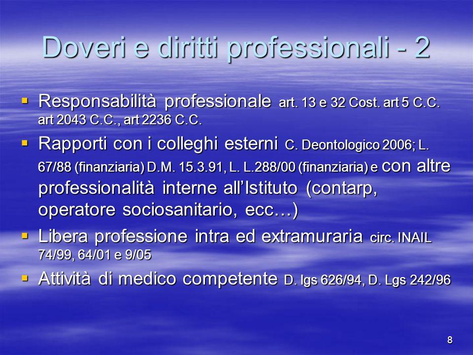 8 Doveri e diritti professionali - 2 Responsabilità professionale art. 13 e 32 Cost. art 5 C.C. art 2043 C.C., art 2236 C.C. Responsabilità profession