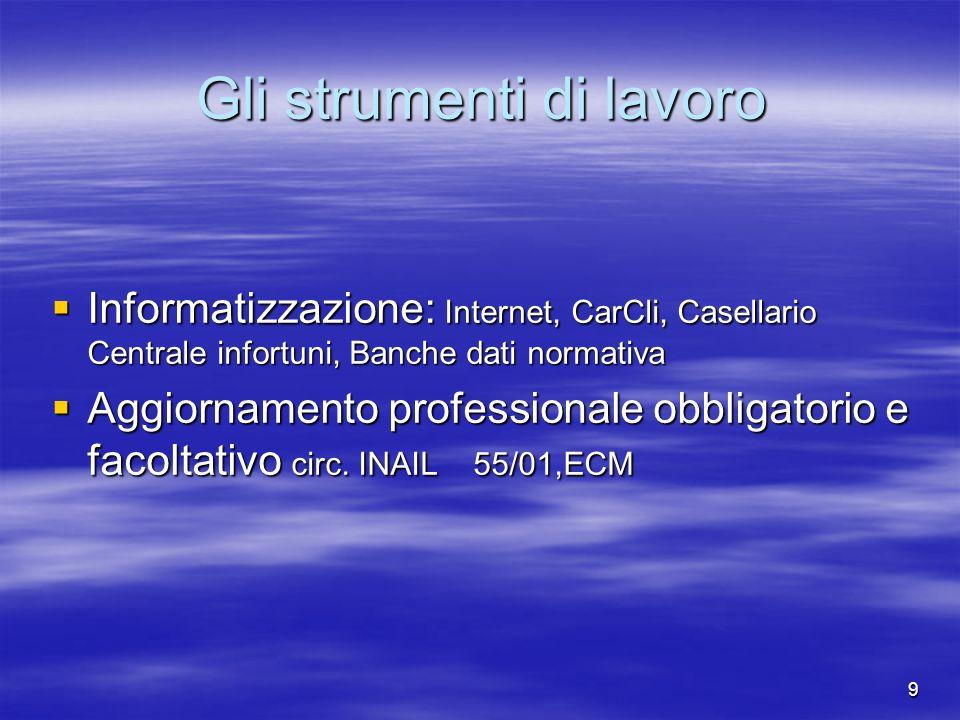 9 Gli strumenti di lavoro Informatizzazione: Internet, CarCli, Casellario Centrale infortuni, Banche dati normativa Informatizzazione: Internet, CarCl
