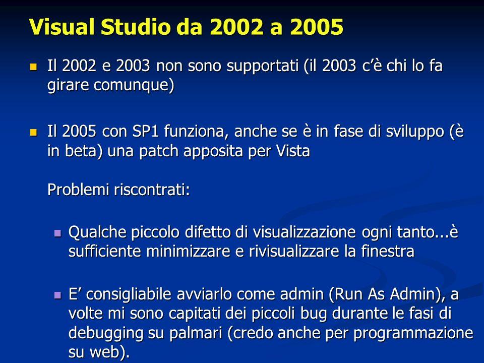 Visual Studio da 2002 a 2005 Il 2002 e 2003 non sono supportati (il 2003 cè chi lo fa girare comunque) Il 2002 e 2003 non sono supportati (il 2003 cè