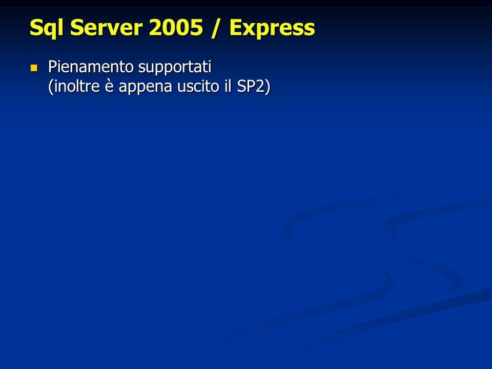 Sql Server 2005 / Express Pienamento supportati (inoltre è appena uscito il SP2) Pienamento supportati (inoltre è appena uscito il SP2)