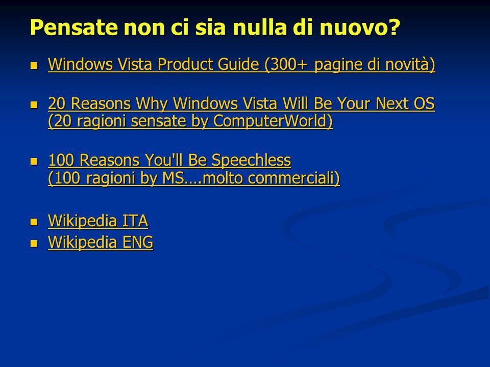Pensate non ci sia nulla di nuovo? Windows Vista Product Guide (300+ pagine di novità) Windows Vista Product Guide (300+ pagine di novità) Windows Vis