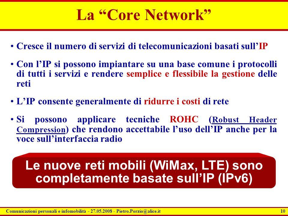 10 Comunicazioni personali e infomobilità - 27.05.2008 - Pietro.Porzio@alice.it La Core Network Cresce il numero di servizi di telecomunicazioni basat